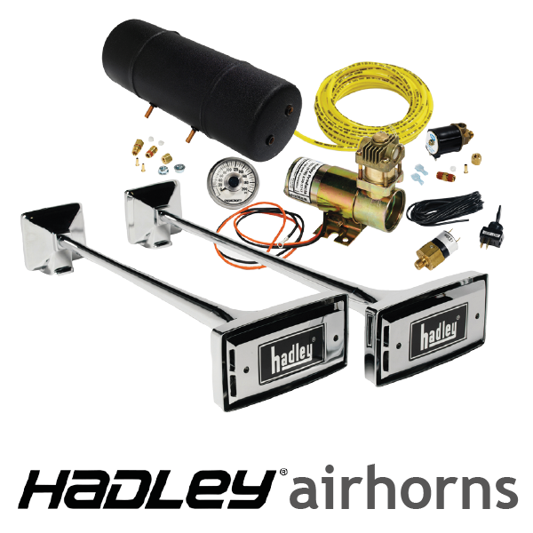 "Hadley 20"" Chrome Ambassador Rectangular Air Horn Kit"